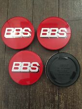 4x BBS RS RM Style 70.6mm Badges Centre Cap Logos Nut Red / Silver 3 Prong 70mm