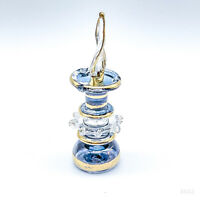 Vintage Parfum Flakon Marokko, Orientalische Parfumflasche Glas - Blau 7,5cm