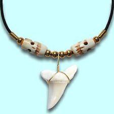 Real Mako Shark Tooth Pendant Surfer Necklace for Men |  Bone Skull Beads
