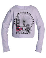 LONDON WHEEL Pullover SWEAT SHIRT Souvenir Gift Crop Top Blouse casual Fashion