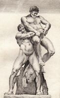 Gravure XVIIIe Hercule et Antée Heraclès Ercole e Anteo Hércules y Anteo 1780