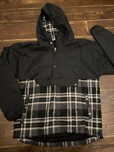 Nike Sportswear Packable Pullover Hooded Jacket Coat Sz Medium Black Grey Check