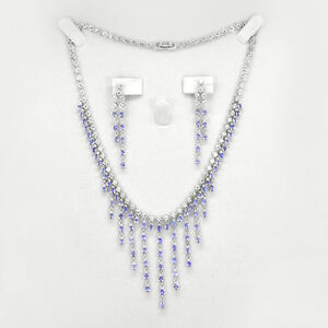 Tanzanite Jewelry Set Necklace & Earring With White Topaz in 925 Silver
