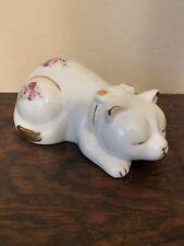 Formalities By Baum Porcelain Figurine Sleeping Kitty Cat, Floral