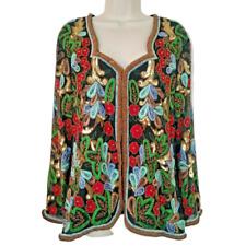 Womens Medium Jacket Vintage Natural Silk Sequin Beaded Embroidered Sheer Sleeve