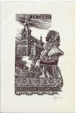 JOSEF WEISER: Exlibris für Jaroslava Dolivkova, Mädchen in Tracht