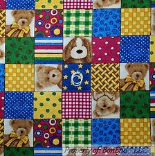 BonEful Fabric FQ Cotton Quilt Baby Bear Boyds Brown Blue White Boy Girl Nursery
