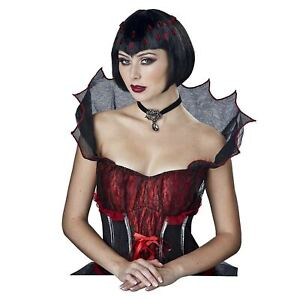 Women's Black Countess Vampire Jewels Short Bob Bangs Gothic Cosplay Costume Wig