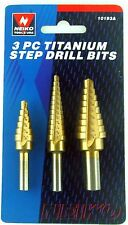 "NEIKO 10193A - 3 Peice set in 1/16"" Increments Titanium Step Drill Bits - New"