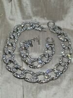 Alessandra Rich Silver Tone Crystal Encrusted Curb Necklace & Matching Necklace