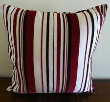 Flynn maroon chocolate and cream striped cushion cover