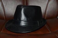 Men's Cuban Style Fedora Trilby Hat Panama Short Brim Cap Sunhat ManMade Leather