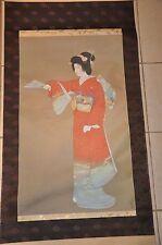 JAPANESE HANGING SCROLL PAINTING 上村松園 SILK ART JAPAN