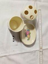A458         Seifenschale +Zahnputzbecher + Auffangbecher Blumen  Porzellan