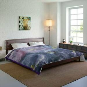 Purple Floral Mosaic Design Abstract Art Polyester Comforter Artistic Quilt Blan