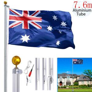 7.6M Australia Flag Pole Aussie Sectional Telescopic Flagpole Ball Kit Aluminum