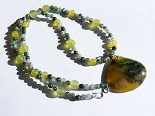 Collar/colgante plata 925,1 Ópalo verde de África, serpentina, ágata espuma de