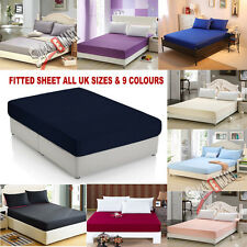 FITTED SHEETS PERCALE SINGLE DOUBLE KING SUPER KING SIZE OR PILLOWCASE UK