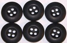 Black Plastic BDU buttons 3/4 in 19 mm 30 L lot of 6  B2802