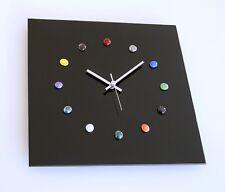 Glas Design Funk Wanduhr schwarz silber bunte Glasnuggets Wohnzimmer Küche Uhr