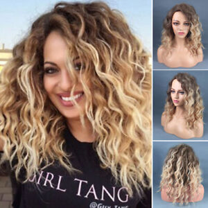 Women Ombre Long Blonde Wig Afro Curly Wigs Synthetic Hair Wig Party Cosplay New