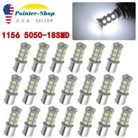 20PCS White 1156 BA15S P21W 5050 18SMD Car RV Trailer LED Light Bulb 1141 12V