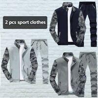2Pcs/Set Men Sport Camouflage Hiking Fishing Tops and Pants Set Loose Jacket New