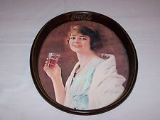 Vintage 1970's Coca Cola Oval Serving Reproduction Tray Girl Holding Coke Glass