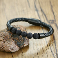 Mens 8mm Healing Lava Reiki Stones Beads Bracelet Leather Braided Rope Bangle