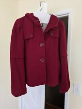 Anthropologie Elevenses Dark Red Wool Pea Coat Size 4 Jersey Lined