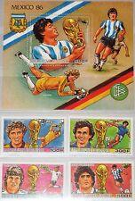 GUINEA 1986 1134-37 Block 240 A 1017-1021 Soccer World Cup Mexico Fußball WM MNH