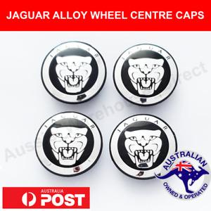 4 x JAGUAR Alloy Wheel Centre Caps 59mm BLACK CHROME Fits All XJ XJR XF S X TYPE