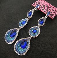 Women's Blue Clear Crystal Rhinestone Teardrop Betsey Johnson Dangle Earrings