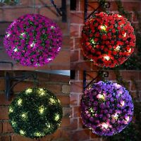 28CM 20 LED DUAL FUNTION SOLAR ROSE TOPIARY HANGING GARDEN BALL LIGHTS ORNAMENT