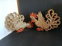 Set of 2 Vintage Fighting Rooster Wall Plaques Home Decor