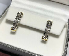"""14k Yellow White Gold 2 Ct Diamond SI1 Pave Channel Set Omega Hoops Earrings 1"""""""