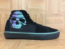 RARE🔥 VANS Sk8-Hi Black Leather Blue Skull Sz 9 Skeletor Misfits Old School LE