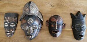 Collection of 4 Tribal Punu Gabon Masks