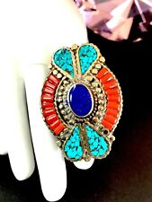 HAND-CRAFTED NEPAL TIBET LAPIS TURQUOISE CORAL STONE MOSAIC STATEMENT RING 9.5