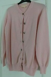 LADIES CASHMERE COMPANY PINK  BUTTON UP CARDIGAN  SIZE 14 (42) 100% CASHMERE