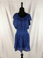 Anthropologie Leifnotes Sz S Women's Blue Lace Flutter Sleeve Smocked Dress