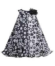 New Girls Bonnie Jean 3T Black White Flower Pleated Dress Clothes Fall Holiday