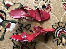 GORGEOUS SALVATORE FERRAGAMO RED HEELS SANDALS SHOES MADE IN ITALY 8.5 MEDIUM