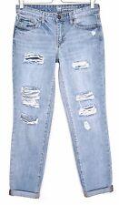 Ladies Gap SEXY BOYFRIEND Slim Blue RIPPED FRAYED Crop Jeans Size 8 R