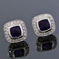 David Yurman 925 Sterling Silver 5mm Amethyst Diamond Petite Albion Earrings