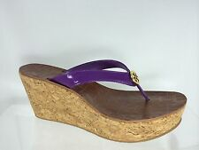 Tory Burch Women's Purple Patent Leather Wedge With Gold Logo Shoes 9.5