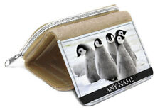 BEIGE Personalised Baby Penguins Animal Purse 020