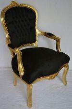 Fauteuil de style Louis XV noir doré