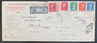 1934 Germany Catapult Mixed Franking Airmail Cover D Columbus To Oakland CA Usa