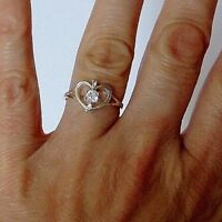 925 STERLING SILVER WHITE CUBIC ZIRCONIA HEART RING size M1/2, O1/2, Q1/2, R _